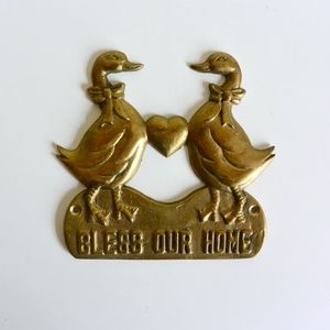 Brass Duck and Heart 'Bless our Home' Plaque